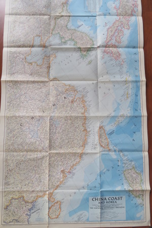 China Coast + Korea, antique wall map in perfect condition!