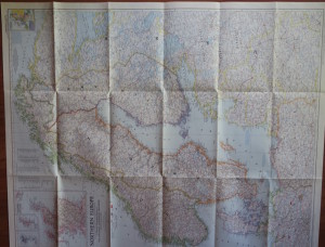 Northern Europe, antique wall map in perfect condition!